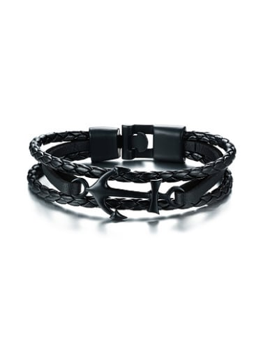 Exquisite Black Gun Plated Anchor Shaped Artificial Leather Bracelet