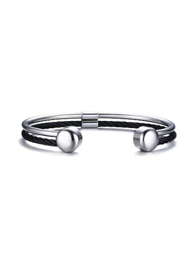 Personality Open Design Black Gun Plated Stainless Steel Bangle
