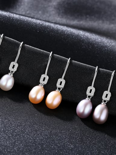 Pure Silver Natural Freshwater Pearl Ear Hook Earrings