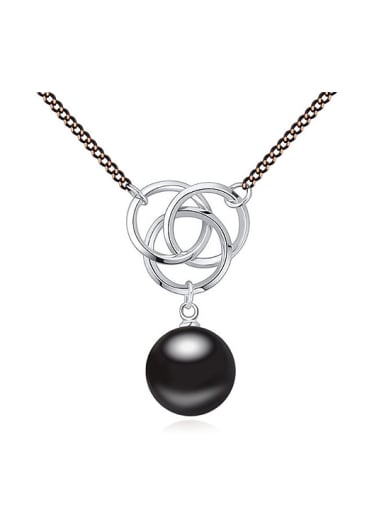 Fashion Double Color Plated Imitation Pearl Alloy Necklace