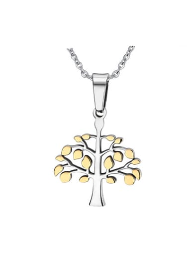 All-match Gold Plated Tree Shaped Titanium Pendant