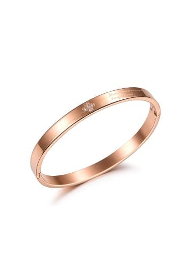 Simple Rose Gold Plated Rhinestones Titanium Bangle