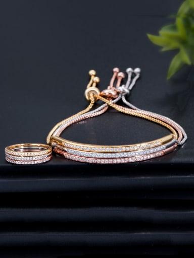 Copper With Cubic Zirconia Simplistic Fringe Free size Bracelets
