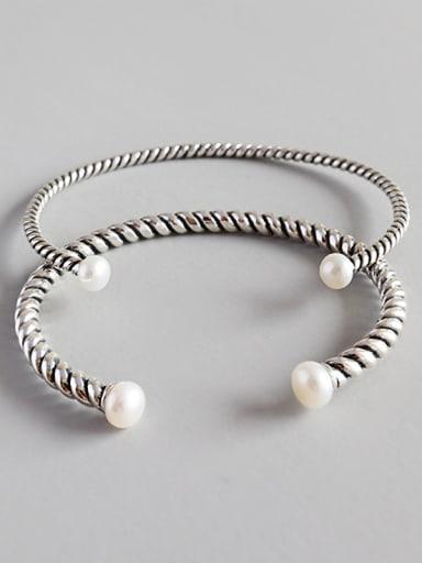Pure Silver Designer freshwater pearl twist bracelet