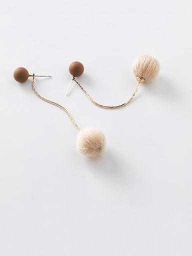 Alloy With Gold Plated Simplistic Long Hair Ball  Threader Earrings
