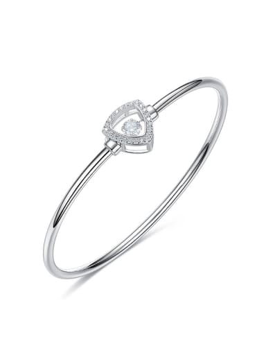 Simple Hollow Triangle Cubic Rotational Zircon 925 Silver Bangle