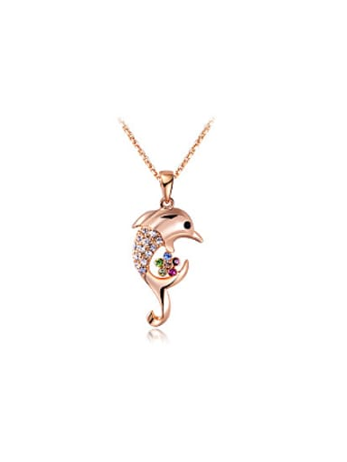 Lovely Dolphin Shaped Colorful Zircon Necklace