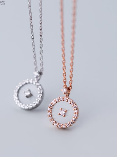 925 Sterling Silver Delicate Round Cubic Zirconia Necklaces