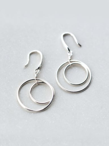 Personality Hollow Round Shaped S925 Silver Drop Earrings