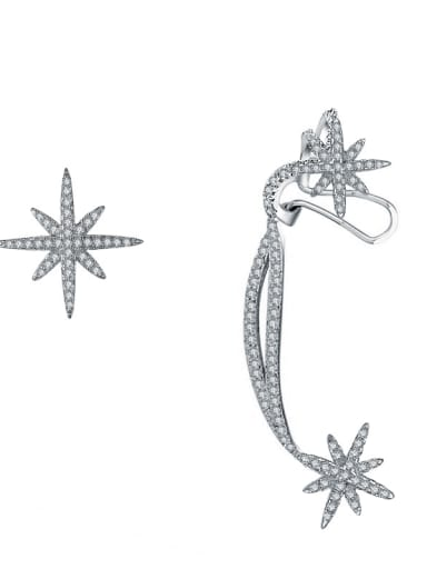 Fashion personality with tiny zircon meter shaped stars asymmetrical earring