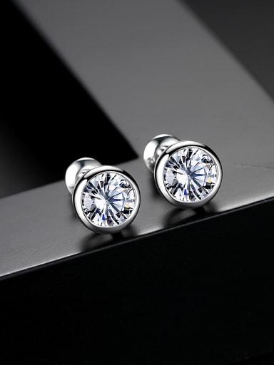 Copper inset AAA zircon bling bling Stud Earrings