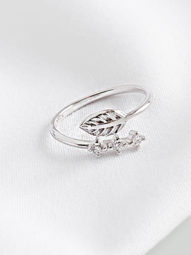 925 Sterling Silver With Cubic Zirconia Simplistic Leaf  Free Size Rings