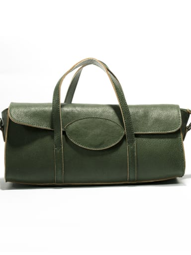 Vintage cylinder vegetable tanned boston bag handbag