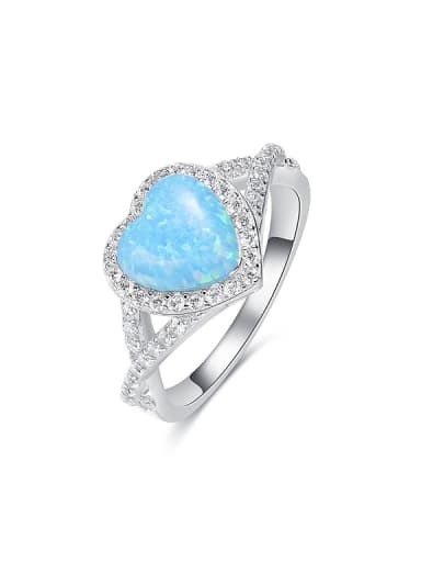 Fashion Opal stone Cubic Zirconias Heart 925 Silver Ring