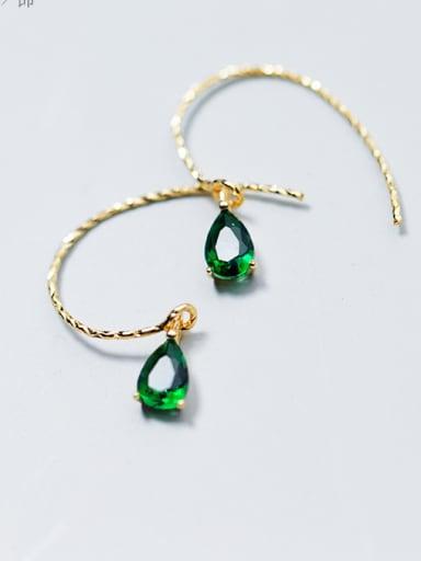 Stylish and sweet Drop-shaped green glass stone small 925 Silver earrings ear hook