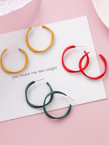 Alloy With Gold Plated Simplistic Geometric Hoop Earrings