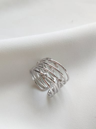Sterling silver cross line free size ring