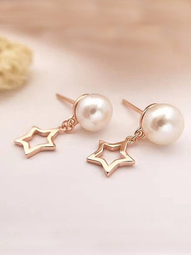 Freshwater Pearl Hollow Star stud Earring