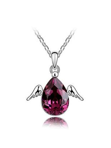 Simple Water Drop Swarovski Crystal Little Angel Wings Alloy Necklace