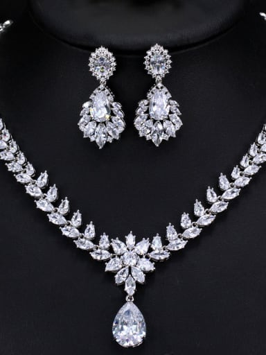 The Luxury Shine  High Quality Zircon Necklace Earrings 2 Piece jewelry set