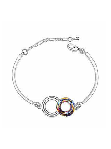 Simple Double Hollow Round Swarovski Crystal Alloy Bracelet