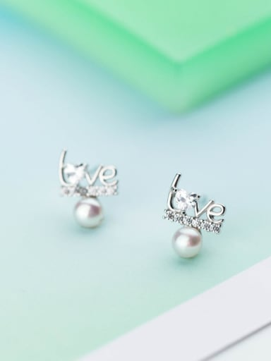 Creative Monogrammed Shaped Artificial Pearl S925 Silver Stud Earrings