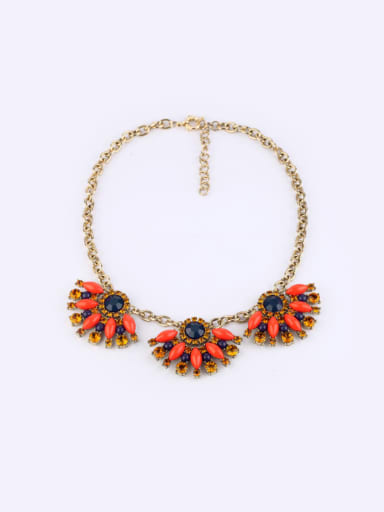 Alloy Artificial Stones Flower Necklace