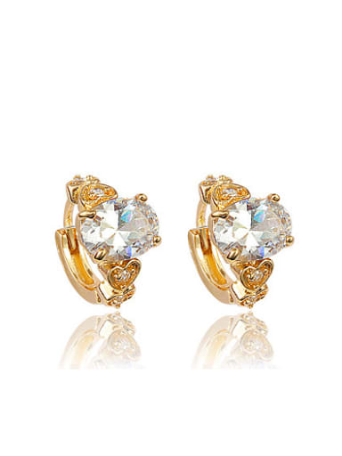 High Quality 18K Gold Plated Geometric Zircon Clip Earrings