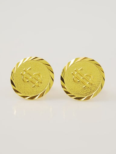 Personality Round Shaped 24K Gold Plated Stud Earrings