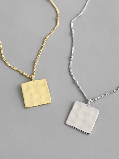 925 Sterling Silver With Gold Plated Personality  Geometric Square Tag Necklace