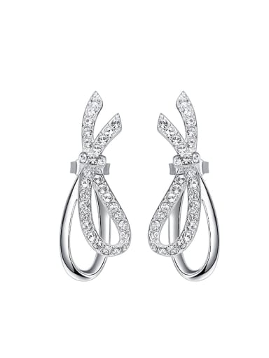 Simple Bowknot Cubic Zircon Stud Earrings