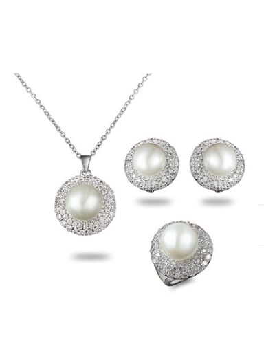 Fashion Platinum Plated Artificial Pearl Three Pieces Jewelry Set