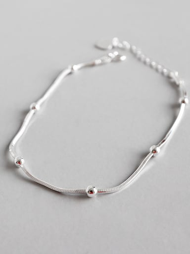 Pure silver fashion simple bead snake bone Bracelet