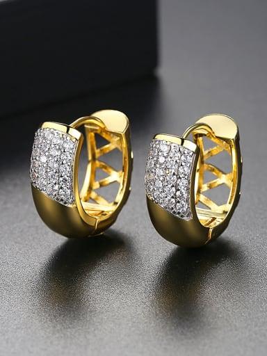 Copper inlaid AAA zircon texture gold pattern Earring