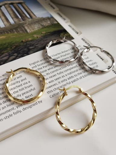 925 Sterling Silver With Gold Plated Simplistic Twist  Round Hoop Earrings