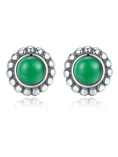 925 Sterling Silver With Turquoise Vintage Round Stud Earrings