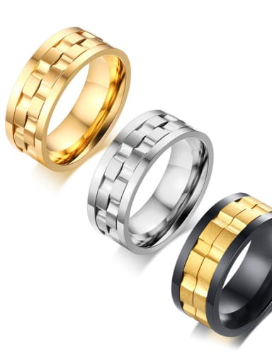 Titanium With Gold Plated Personality Men Rotatable Rings