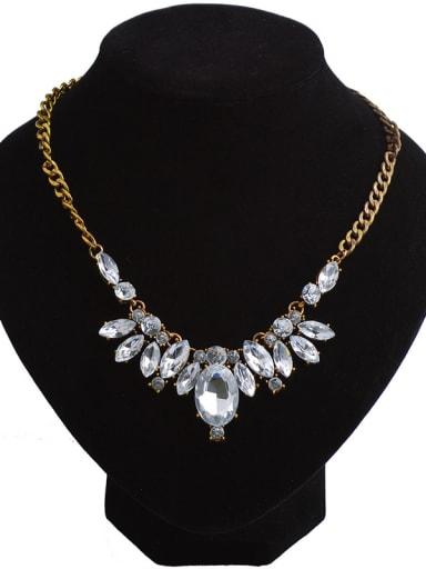 Fashion Marquise White Acrylic Pendant Alloy Necklace