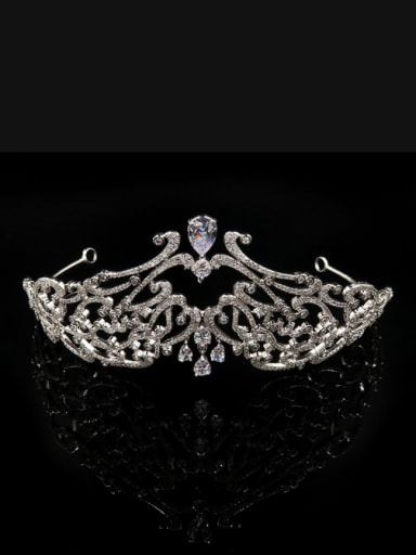 Luxury  Micro Pave Zircons Crown-shape Copper Hair Accessories