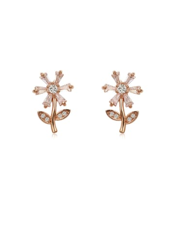 Copper With Cubic Zirconia Simplistic Flower Drop Earrings