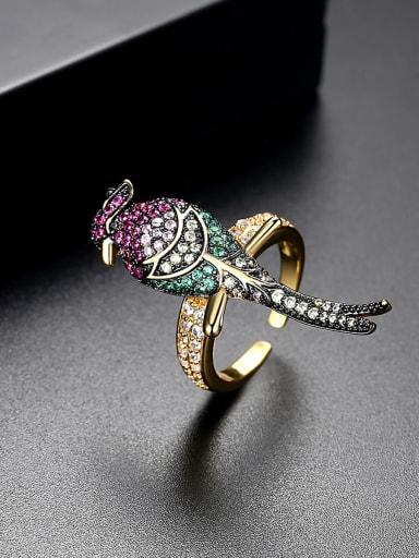 AAA zircon colored bird free size rings