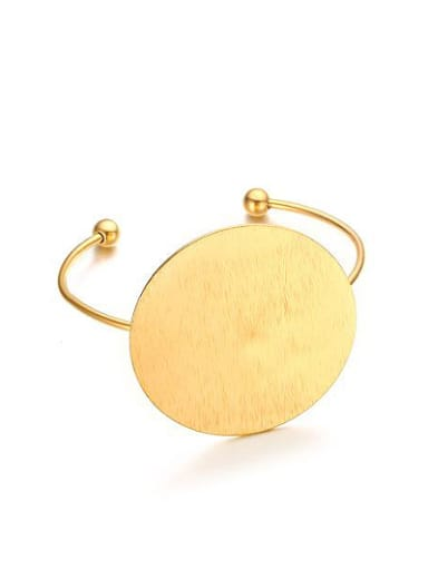 Creative Open Design Gold Plated Round Shaped Titanium Bangle