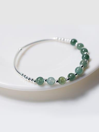 Elegant Green Crystal S925 Silver Band Bracelet