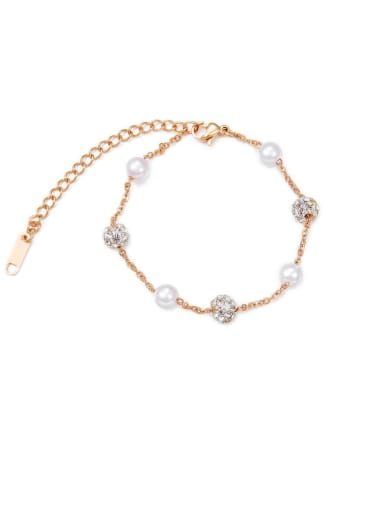 Titanium With Cubic Zirconia Simplistic Round  Bracelets