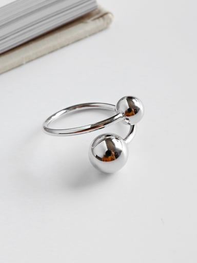 925 Sterling Silver With Simplistic Size round ball Free Size Rings