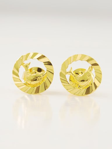 Lovely Dolphin Shaped 24K Gold Plated Stud Earrings