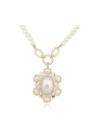 Noble Champagne Gold Plated Imitation Pearls Alloy Necklace