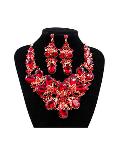 Water Drop Glass and Rhinestones Two Pieces Jewelry Set