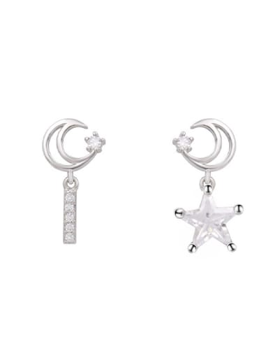 Copper With White Gold Plated Personality  Asymmetry Star Drop Earrings