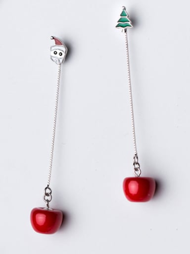 925 Sterling Silver With Platinum Plated Cute Christmas Apple Earrings long  Earrings